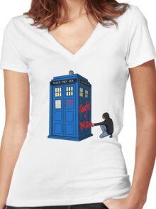 The Doctor Parked His Tardis Down Splott Women's Fitted V-Neck T-Shirt