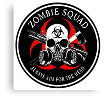 Biohazard Zombie Squad Always aim for the head Ring Patch outlined Canvas Print