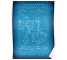 Top Secret Spaceship Blueprint Poster