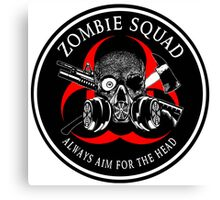 Biohazard Zombie Squad Always aim for the head Ring Patch outlined 2 Canvas Print