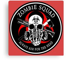 Biohazard Zombie Squad Always aim for the head F U Ring Patch outlined Canvas Print
