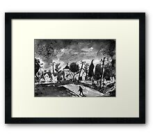 small town walk home Framed Print