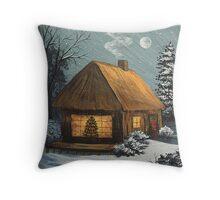 Winter Cottage Throw Pillow