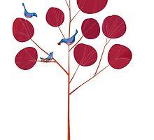Love birds in a magnolia tree by Gregorilla