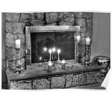 Fireplace B&W Poster