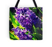 Purple Flowers in Greenery Tote Bag