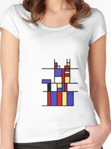 Mondrian's cat Women's Fitted Scoop T-Shirt