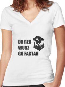 Da Red Wunz go Fastah Women's Fitted V-Neck T-Shirt
