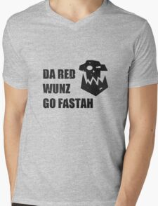 Da Red Wunz go Fastah Mens V-Neck T-Shirt