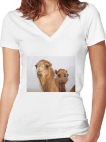 Camels Women's Fitted V-Neck T-Shirt