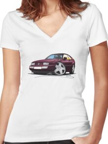 VW Corrado Maroon Women's Fitted V-Neck T-Shirt