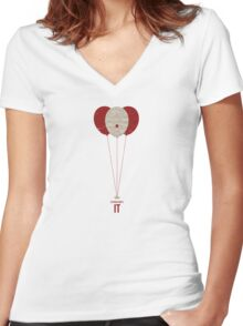 "Vintage Movie Poster Inspired by Stephen King's ""IT"" Women's Fitted V-Neck T-Shirt"