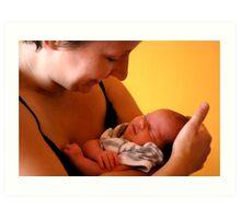Newborn in safe arms Art Print