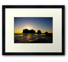 sun setting behind james island, washington, usa Framed Print