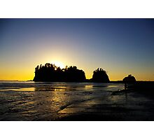 sun setting behind james island, washington, usa Photographic Print