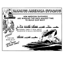Making America Strong Cartoon -- WWII Photographic Print