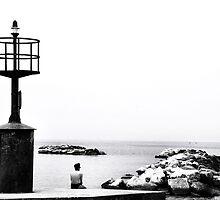 enjoying the solitude (Black and white Lighthouse) by Francesco Malpensi