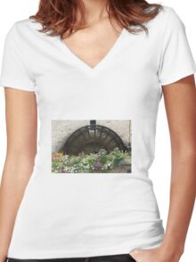 Watermill flowers Women's Fitted V-Neck T-Shirt