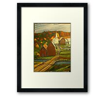 Small Town with Church Framed Print