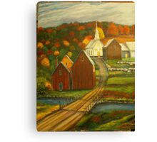 Small Town with Church Canvas Print