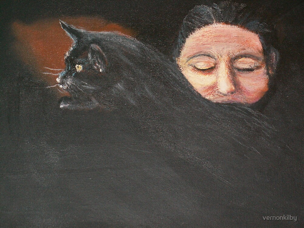 Woman With Cat by vernonkilby