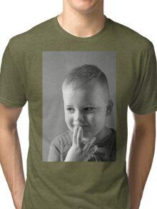 The Thinker - A portrait  In Black & White Tri-blend T-Shirt