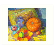 Indoor still life with a pumpkin Art Print