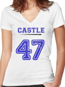 Castle 47 Jersey Women's Fitted V-Neck T-Shirt