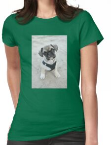 Cute puppy looking up Womens Fitted T-Shirt