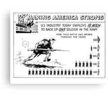Making America Strong Cartoon -- WW2 Canvas Print