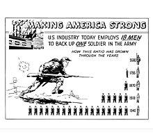 Making America Strong Cartoon -- WW2 Photographic Print