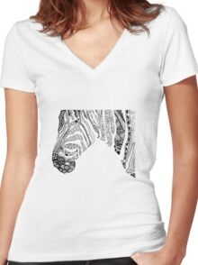 Pen and Ink Zebra Women's Fitted V-Neck T-Shirt