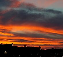 Sky On Fire Over Market Commons by TJ Baccari Photography
