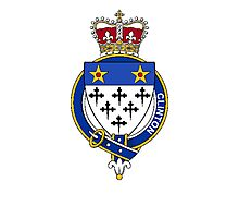 Coat of arms (family crest) for last-name or surname Clinton (Scotland) . Heraldry banner for your name. Photographic Print