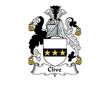 Coat of arms (family crest) for last-name or surname Clive or Cleve . Heraldry banner for your name. Photographic Print
