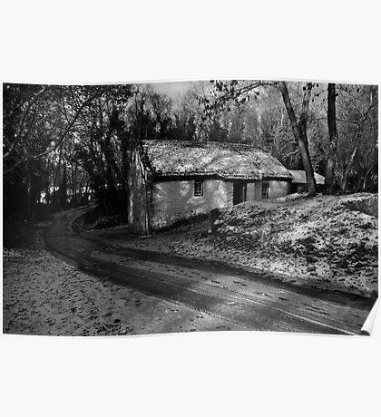 A Home in the Wood - Cottage in Snow, Cultra, County Down. Poster