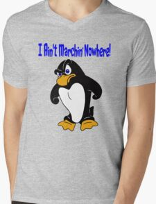 Angry Penguin Mens V-Neck T-Shirt