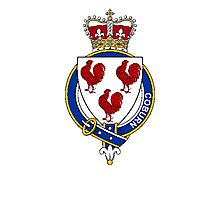 Coat of arms (family crest) for last-name or surname Coburn or Cockburn (Scotland) . Heraldry banner for your name. Photographic Print