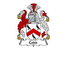 Coat of arms (family crest) for last-name or surname Codd . Heraldry banner for your name. Photographic Print