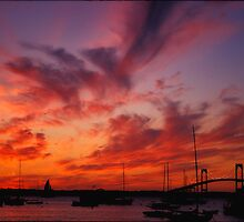 Newport , Rhode island Sunset by John R Franco