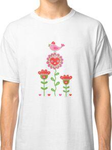 Happy - flowers bird hearts Classic T-Shirt