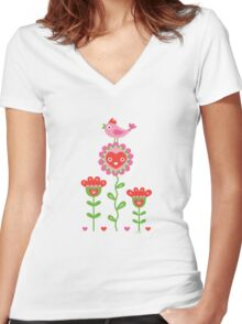 Happy - flowers bird hearts Women's Fitted V-Neck T-Shirt