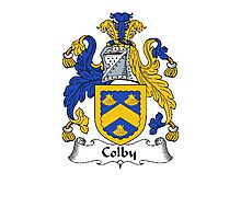 Coat of arms (family crest) for last-name or surname Colby . Heraldry banner for your name. Photographic Print