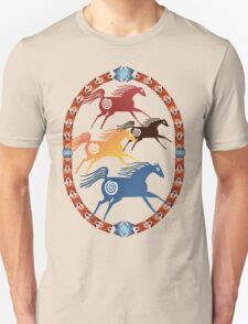Four Ancient Horses Oval T-Shirt