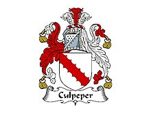 Coat of arms (family crest) for last-name or surname Colepeper or Culpeper . Heraldry banner for your name. Photographic Print