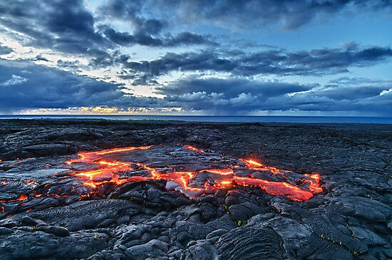 lava flowing towards the sea at sunrise HDR by Flux Photography