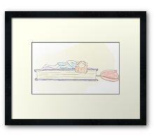 Sleeping with books Framed Print