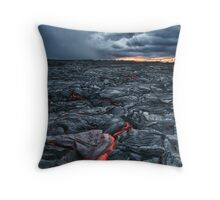 Kalapana Lava flow at sunrise HDR Throw Pillow