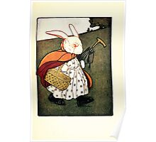The Tale of Peter Rabbitt Beatrix Potter 1916 0015 To the Bakers with Umbrella and Basket Poster