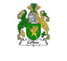 Coat of arms (family crest) for last-name or surname Collins . Heraldry banner for your name. Photographic Print